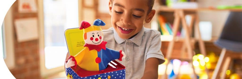 Infant and Preschool Toys - Boy with Jester Jack in the Box