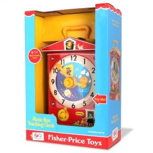 Fisher Price Music Box Teaching Clock Front Angle Left