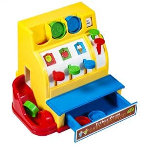 Fisher Price Cash Register - High Angle right, change drawer open