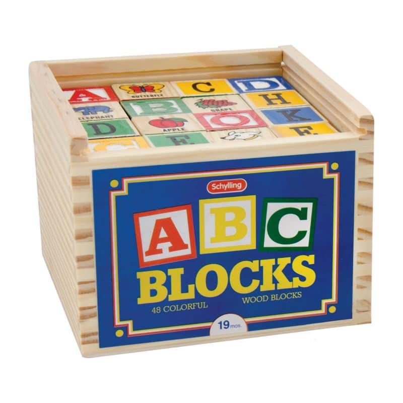 Alphabet Wood Blocks in box front angle