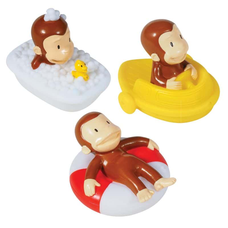 Curious George Bath Squirters Group: Curious George in Tub, Curious George in Boat, Curious George in Innertube