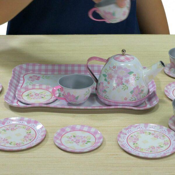 Fancy floral tin tea set