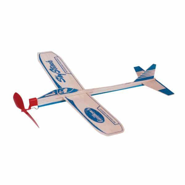 Sky Streak Balsa Wood Airplane with Red Propeller