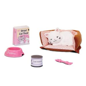 Lottie Pandora The Persian Cat Contents: Pandora, cat bed, tin of cat food, box of dried food, milk bowl, cat toy