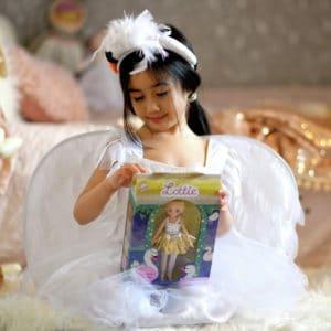 Girl in Swan Lake Ballerina Costume opening Swan Lake Lottie Package