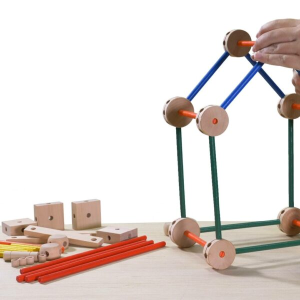 Wooden sticks and spools connecting toy video