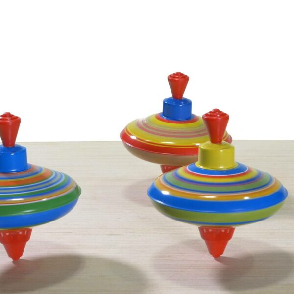 Colorful spinning mini tin tops video