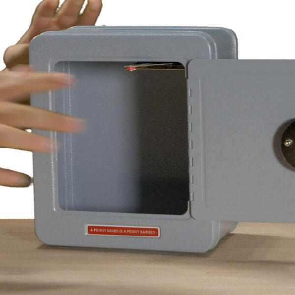 Grey steel safe with alarm front view video