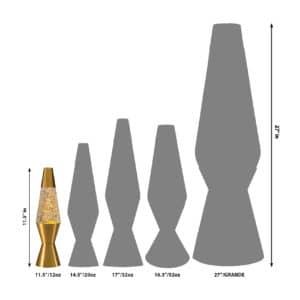 """11.5"""" LAVA® Lamp – Rainbow Glitter/Clear/Gold Size Comparison"""