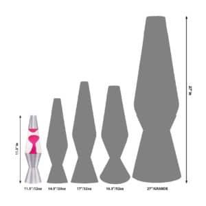 "11.5"" LAVA® Lamp – Pink/Clear/Silver Size Comparison"