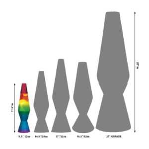 "11.5"" LAVA® Lamp Rainbow – White/Tricolor Size Comparison"
