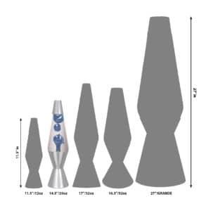 """14.5"""" LAVA® Lamp Metallic – Blue/Clear/Silver Size Comparison"""