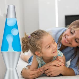 """14.5"""" LAVA® Lamp – White/Blue/Silver with a mother and daughter"""