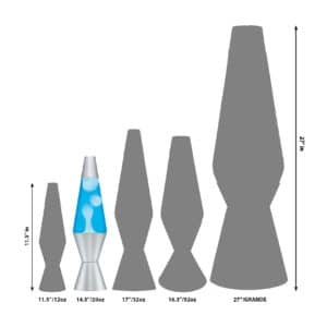"""14.5"""" LAVA® Lamp – White/Blue/Silver Size Comparison"""