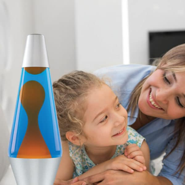 """14.5"""" LAVA® Lamp – Orange/Blue/Silver with mother and daughter"""