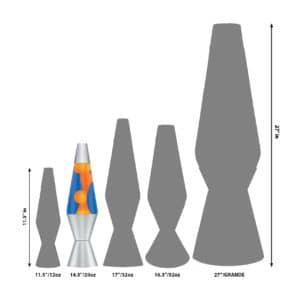 """14.5"""" LAVA® Lamp – Orange/Blue/Silver Size Comparison"""