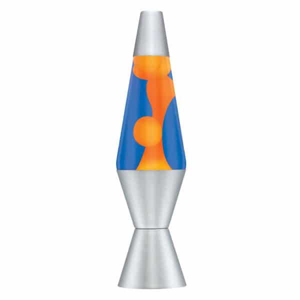 "14.5"" LAVA® Lamp – orange wax, blue liquid, silver base and cap"