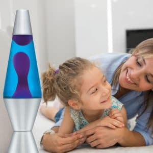 """14.5"""" LAVA® Lamp – Purple/Blue/Silver with a mother and daughter"""