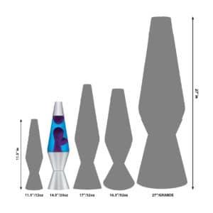 """14.5"""" LAVA® Lamp – Purple/Blue/Silver Size Comparison"""