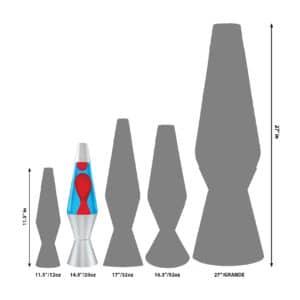 """14.5"""" LAVA® Lamp – Red/Blue/Silver Size Comparison"""