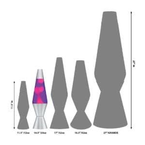 """14.5"""" LAVA® Lamp – Pink/Purple/Silver Size Comparison"""