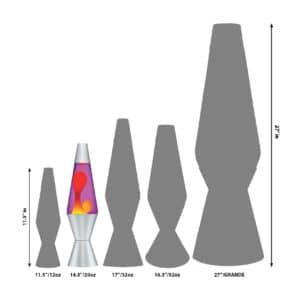 """14.5"""" LAVA® Lamp – Yellow/Purple/Silver Size Comparison"""