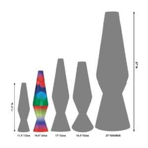 """14.5"""" LAVA® Lamp Colormax Rainbow – White/Tricolor Size Comparison"""