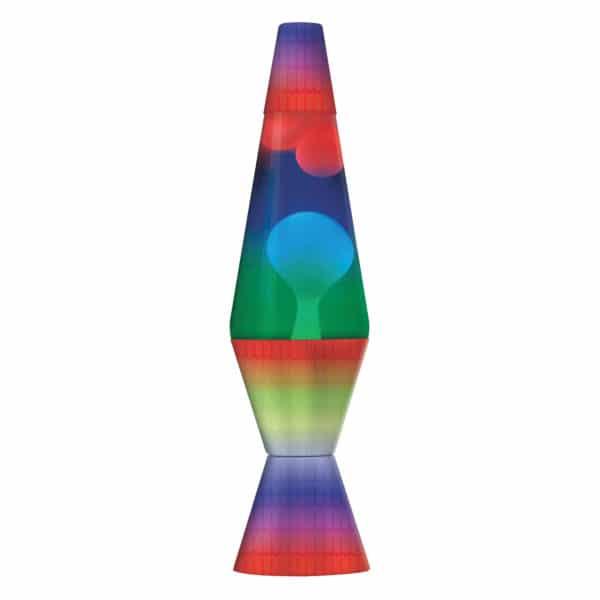 "14.5"" LAVA® Lamp Colormax Rainbow – white wax, clear liquid, tricolor globe, rainbow base and cap"