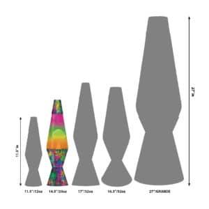 "14.5"" LAVA® Lamp Colormax PaintBall – White/Tricolor Size Comparison"