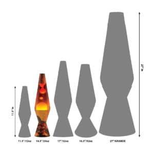 """14.5"""" LAVA® Lamp Colormax Volcano – White/Tricolor Size Comparison"""