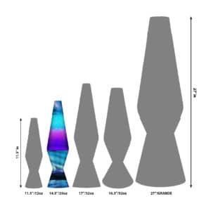 """14.5"""" LAVA® Lamp Colormax Northern Lights – Glitter size comparison"""