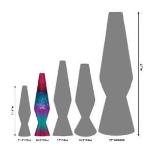 """14.5"""" LAVA® Lamp Berry – Rainbow/Glitter/Tricolor Size Comparison"""