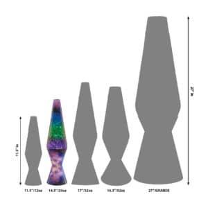"""14.5"""" LAVA® Lamp Colormax Galaxy – Silver Star Glitter/Tricolor Size Comparison"""