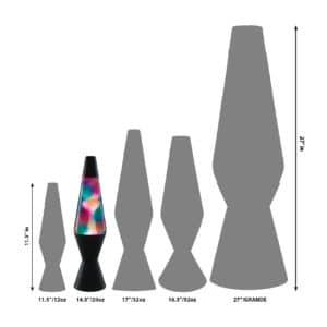 """14.5"""" LAVA® Lamp Graffiti – White/Clear/Black Size Comparison"""