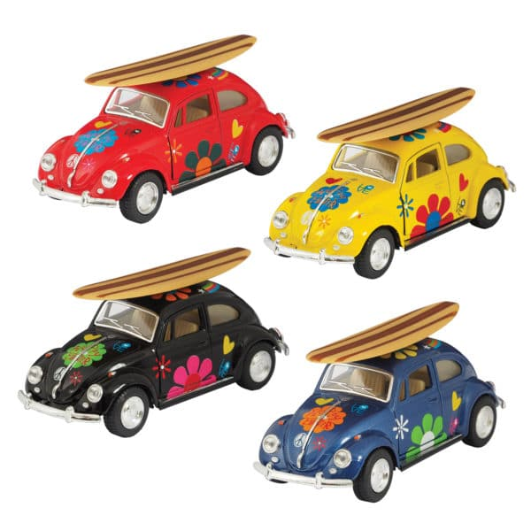 Diecast 1967 VW Beetle with Surfboard