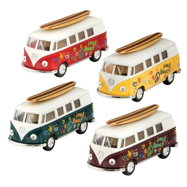 Diecast 1962 VW Bus with Surfboard