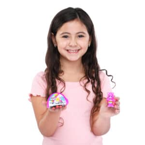 Care Bears surprise figure being held by girl