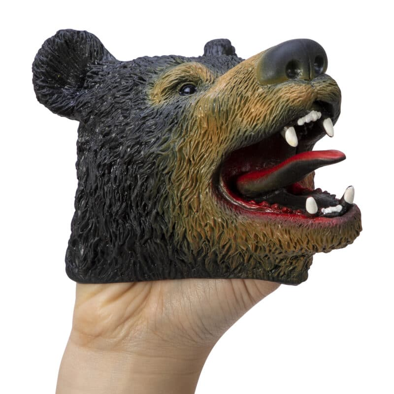 Stretchy Black Bear Hand Puppet on hand