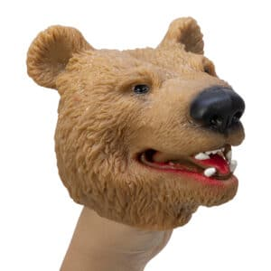 Stretchy Brown Bear Hand Puppet on hand