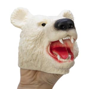 Stretchy Polar Bear Hand Puppet on hand