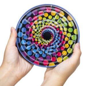 Tin BB Maze in Hands - Rainbow Dots
