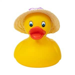 Large Rubber Duck with Straw Hat with Purple Bow Front