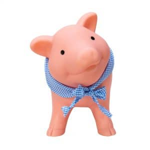 Rubber Piggy Bank with blue gingham bandanna - Front