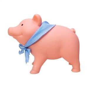 Rubber Piggy Bank with blue gingham bandanna - Left Side