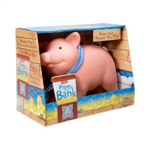 Rubber Piggy Bank in Package Front Angle