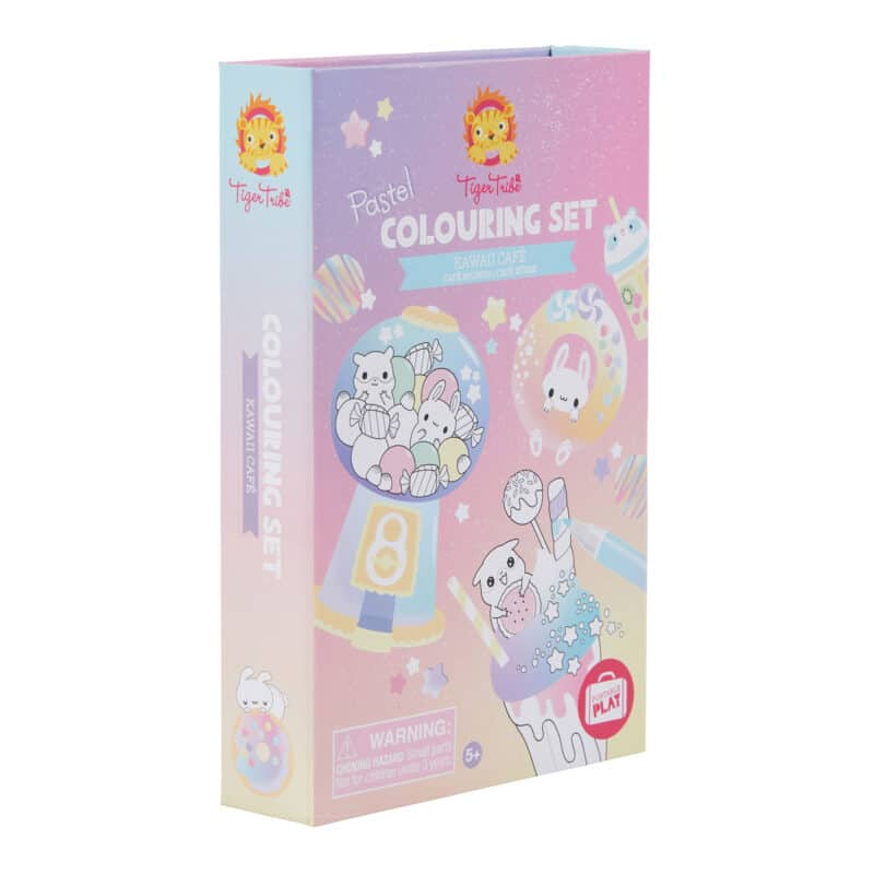 Tiger tribe coloring set kawaii café in package side view