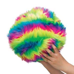 Furry Dohzee Plush rainbow pillow in hands
