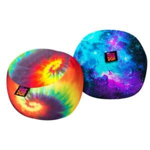 Two Dohzee Prints. tie-dye rainbow and nebula
