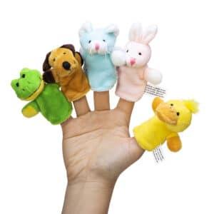 Animal Finger Puppets - Hand - Frog, Dog, Cat, Rabbit, Duck