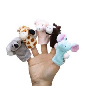 Animal Finger Puppets - Hand - Koala, Giraffe, Pig, Horse, Elephant